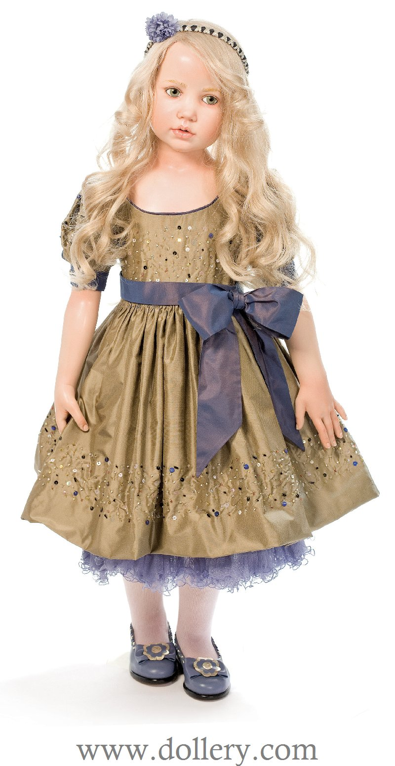 Greyish Green Eyes Silk Dress Embroidered With Sequins Bow Made From  French Silk Taffeta Underdress With Silk Ruffles Leather Shoes